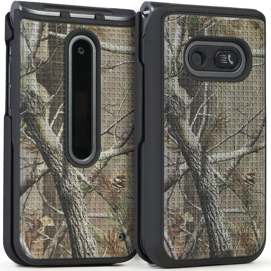 Case for LG Classic Flip, Nakedcellphone [Outdoor Camouflage] Tree Leaf Real Woods Camo Protective Hard Shell Cover for LG Classic Flip Phone L125DL