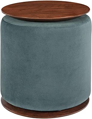Benjara Fabric Upholstered Modern Convertible Two Tone Ottoman, Blue and Brown