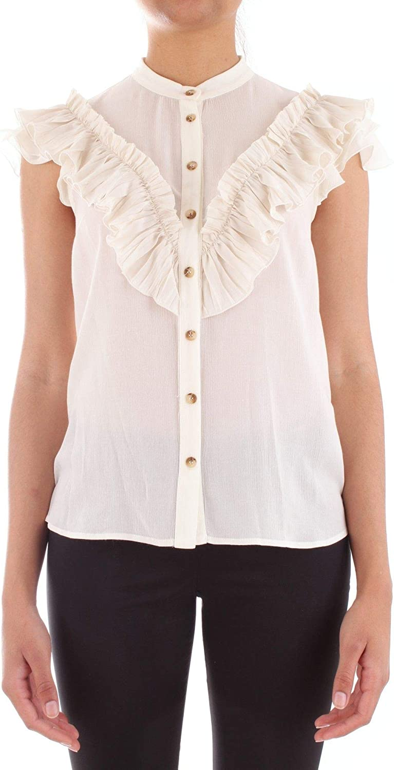 Annarita N Women's A323NATURAL White Polyester Blouse