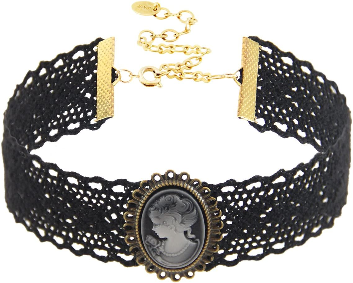 Black Cotton Lace Choker with Cameo Accent, 18K Gold Plated Closure. Length: 11