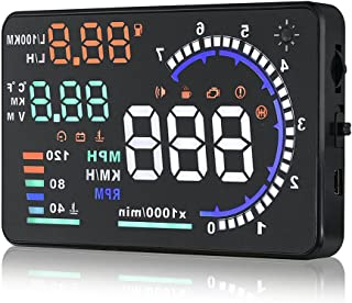 Arestech 5.5 inches A8 OBD2 Windshield HUD Head Up Display with Display RPM MPH Speeding Warning Fuel Consumption Temperature