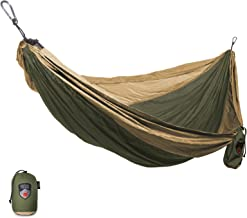 Grand Trunk Single Parachute Nylon Hammock with Carabiners and Hanging Kit: - Perfect for Outdoor Adventures, Backpacking, and Festivals
