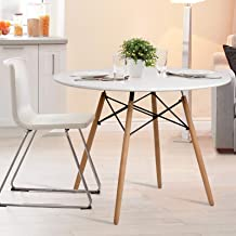 Artiss Dining Table 4 Seater Round DSW Eiffel Kitchen Timber White