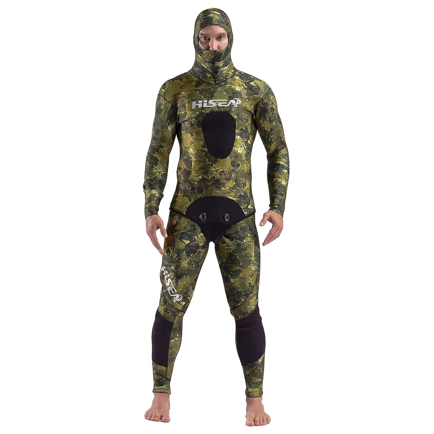 透明に生産的着替えるMORGEN SKY ウェットスーツ メンズ 1.5mm/3.5mm/5mm/7mm スピアフィッシング 魚突き フード一体式 2ピース 上下セパレートタイプ 表ジャージ×裏スキン ハイウエストパンツ仕様 M019