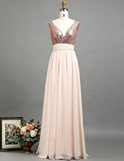 cf8f63d440ca Open Back Long Bridesmaid Dress Rose Gold Sequin V Neck Wedding Prom Dress