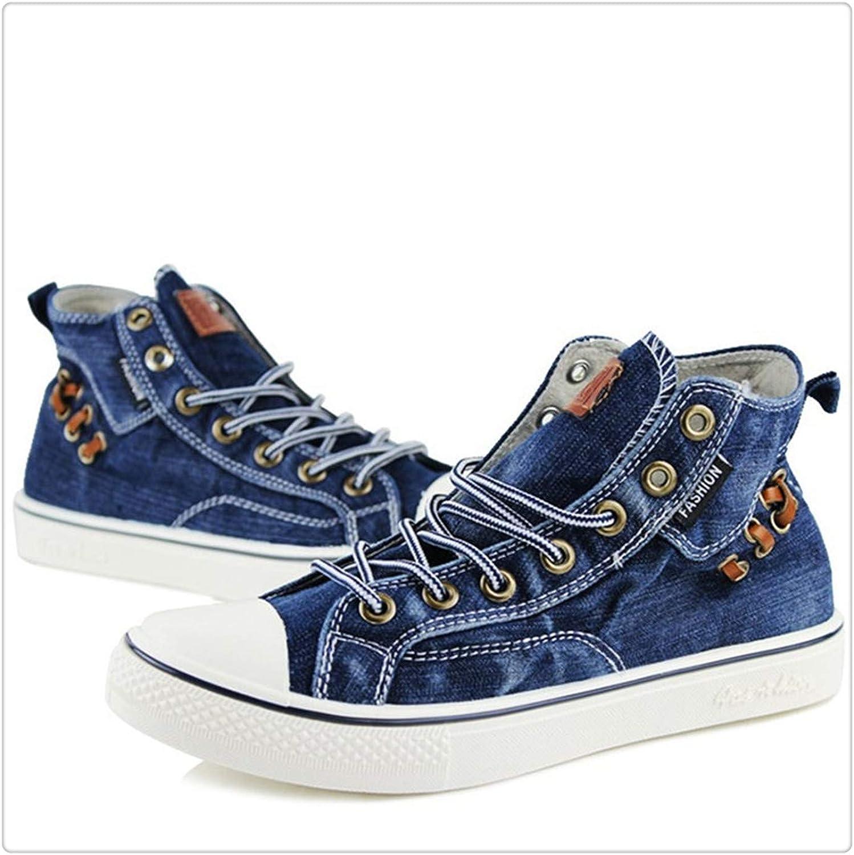 Dmoshibei New Couples High top Denim Fabric Canvas shoes Sneakers Women Flat Leisure shoes Tenis Feminino Casual Size 35-44 shoes women B-bluee- 5