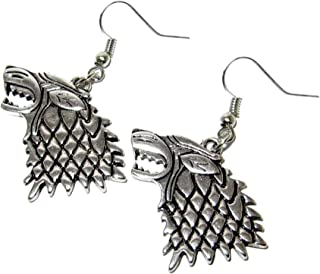 Dangle Earrings Game of Thrones Stark Insignia In Gift Box by J&C Family Owned