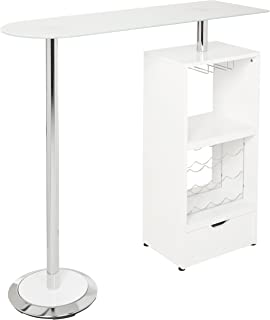 Glass Top Bar Table Glossy White, Chrome and Clear