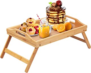 Bamboo Bed Tray Table Folding Legs with Handles,Kids Small Breakfast Tray for Sofa, Bed,Eating,Drawing,Platters Serving La...