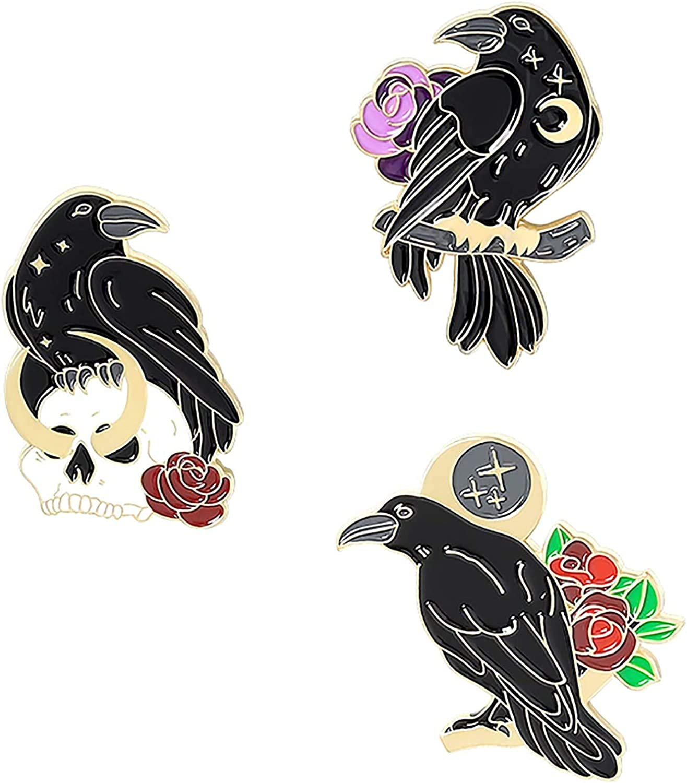 ZhangXF Black Crow Enamel Pins Set Art Rose Moon Lapel Pin Cute Aesthetic Badges for Children Women Backpack Shirt Denim Bag Pins Set