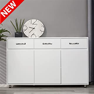 DANGRUUT Modern Floor Cabinet, Household Storage Side Cabinet, Free Standing Organizer Base Cabinet with 3 Drawers and 3 Cupboard for Living Room, Bedroom, Kitchen, Bathroom, Office(White-3 Door)