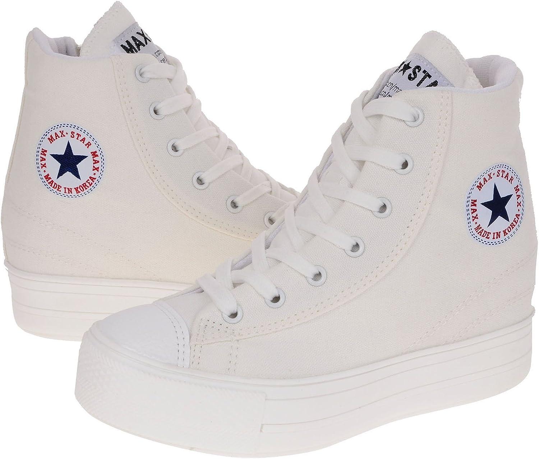 Maxstar Women's C2 7 Holes Zipper Hidden Heel Canvas High Top Sneakers