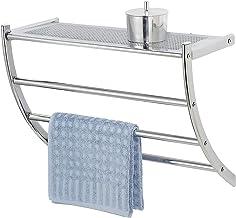 Wenko Exclusieve wandrek Pescara-3 handdoekrekken, 1 plank, staal, zilver, glanzend, 21,5 x 56 x 46 cm