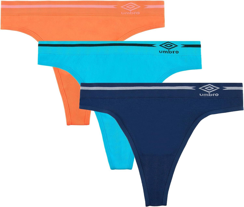 Princess Blue//Pink Glo Assorted Umbro Women/'s Seamless Bikini Panties 3 Pack