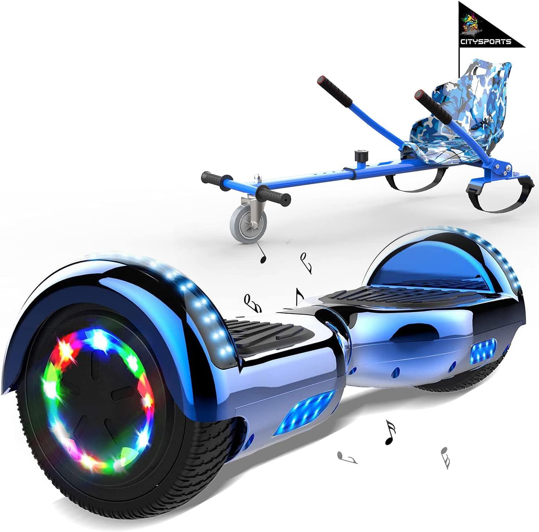 MARKBOARD Hoverboard con Silla, Accesorio para Karts, LED Luces y Altavoces Bluetooth, Scooter autoequilibrado con Hoverkart de 6.5 Pulgadas, Regalo para niños y Adultos