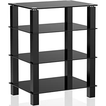 FITUEYES 4-Tier Media Stand Audio/Video Component Cabinet with Glass Shelf for/Apple Tv/Xbox One/ps4 AS406002GB