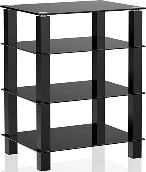 FITUEYES 4 Tier Media Component Stand Audio Cabinet With Glass Shelf For Apple Tv Xbox One Ps4 AS406002GB