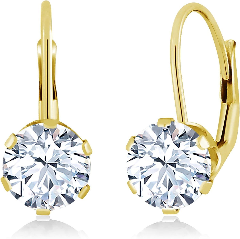 1.68 Ct Round White Zirconia 14K Yellow gold Earrings