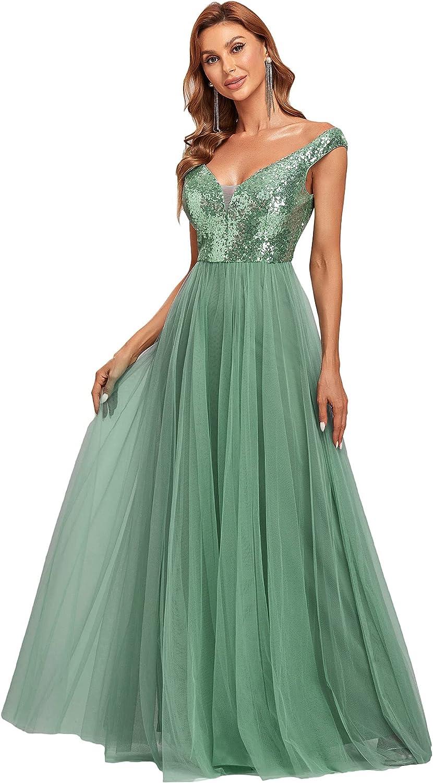 Alisapan Womens Off The Shoulder V Neck Sequin Tulle A Line Wedding Guest Dress 0277