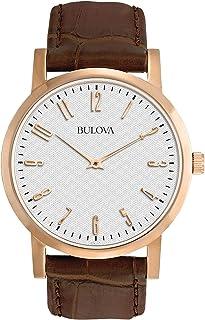 Bulova - Reloj de Pulsera para Hombre (Mecanismo de Cuarzo, Esfera Color Gris y Correa de Piel Color marrón), Modelo 97B106 de Bulova