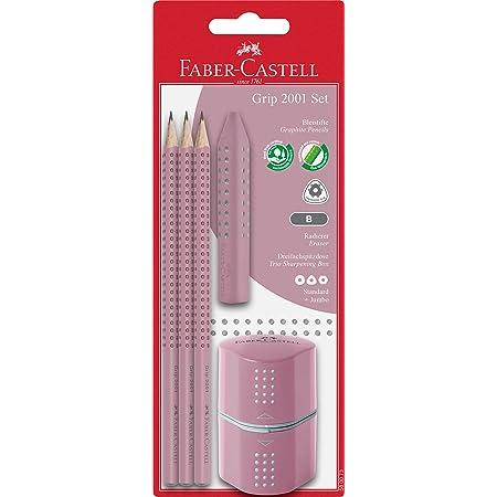Faber-Castell 580073 - Bleistiftset Grip 2001, drei Bleistifte Härte B, mit Radierer und Spitzer, rose shadows