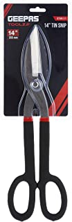 """Geepas 14"""" Tin Snip - Straight Cut Snip Tin with Steel Blades   Cutting Capacity Upto 23 Gauge   Slip Resistant Handle for..."""