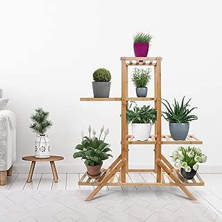Livzing Multipurpose 4 Tier Bamboo Wooden Shelf Rack Display Plant Stand Holder - Flower Pot Bookshelf Indoor Outdoor Home Balcony Garden Storage Organizer