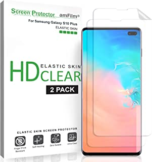 amFilm Screen Protector for Galaxy S10 Plus (2 Pack), Flexible (Case Friendly) Elastic TPU Film Screen Protector with Easy Installation Alignment Tool for Samsung Galaxy S10+