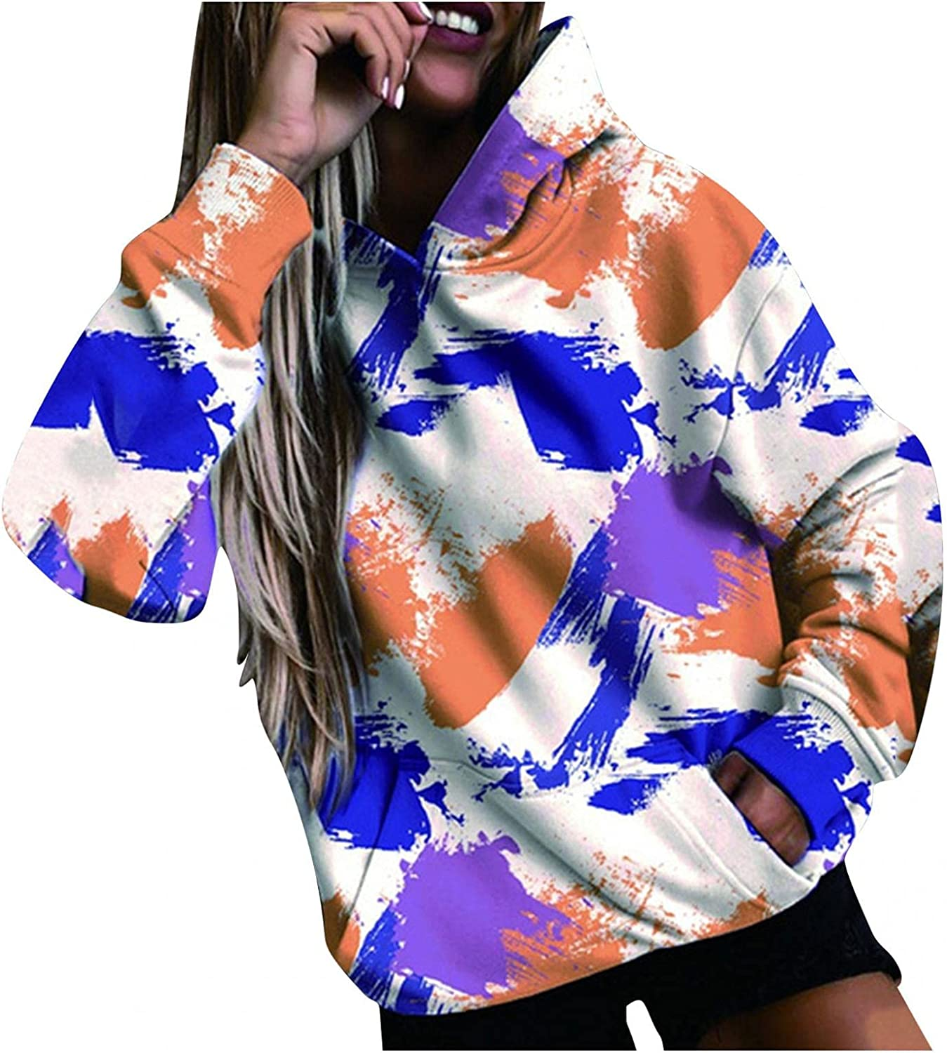 COMVALUE Womens Hoodies,Womens Pullover Sweatshirts Fashion Flower Graphic Pocket Long Sleeve Loose Casual Tops