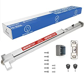 FH-850A Alarmed Panic Bar Exit Device - Loud Warning Strike Bar with Warning Stickers - UL Listed - Easy Installation