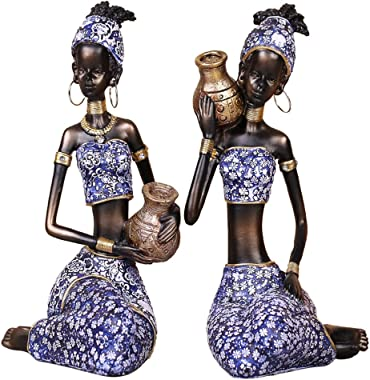 Olpchee 2Pcs Resin African Lady Figurine Sculpture Creative Art Sculptures for Home Decor Collection (A)
