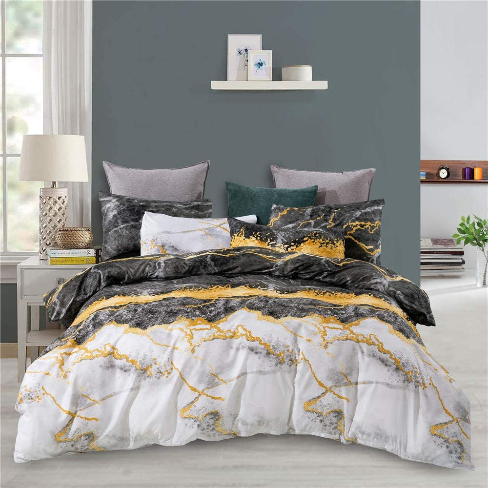 Houseri Don't miss the campaign Gold Marble Duvet Cover King White Black Sale Special Price Ma and Charcoal