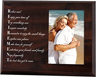 Elegant Signs Retirement Gift for Dad or Mom - Wood Plaque Picture Frame with Inspirational Retired Poem
