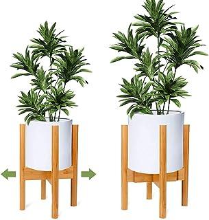 Ogima Soporte Ajustable para Plantas de Madera de Mediados de Siglo, Moderno Soporte para macetas de Flores para Interior y Exterior