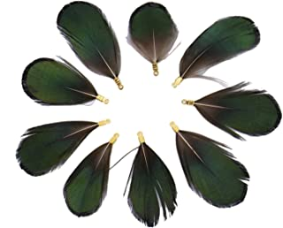 Monrocco 20 pcs Peacock Feather Earring Peacock Lot Pendants for Jewelry Earring Necklace Handcrafts Finding DIY Gift