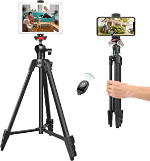 "55"" Mobile Phone/Tablet Tripod, Lightweight Adjustable Aluminum Stand with 360° Ball Head,Remote Shutter and Phone/Tablet ..."