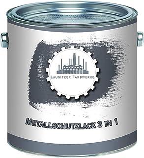 Lausitzer Farbwerke Metallschutzlack 3in1 SEIDENMATT Terrabraun RAL 8028 Braun 3-in-1 du sparst dir Anti-Rost-Produkte Metallfarbe Metalllack Farbe für Metall Stahl Eisen Zink Aluminium 2,5 L