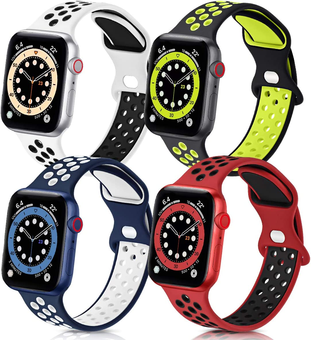 GROGON Compatible with Apple Watch Bands 44mm 42mm 40mm 38mm for Men Women, 4 Pack Silicone Sport Waterproof Breathable Soft Replacement Strap for iWatch SE Series /6/5/4/3/2/1(42mm 44mm S/M,No.4)