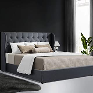 Artiss Queen Bed Frame with Gas Lift Storage Fabric - Charcoal