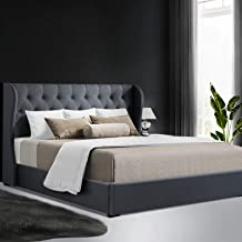 King Bed Frame, Artiss ISSA Gas Lift Storage Bed Base Fabric, Charcoal
