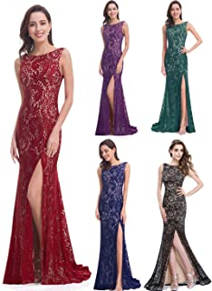 Ever-Pretty Women's Sexy V-Neck Back and Unique Side Slit Long Lace Mermaid Style Evening Dresses 08859
