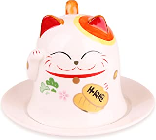 Goodwei Maneki Neko Lucky Cat Porcelain Cup with Saucer 8oz