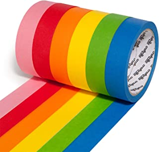 Craftzilla Colored Masking Tape – 6 Rolls of 20 Yards x 1 Inch Rainbow Tape – Colorful Craft Tape for Kids Teachers & Pain...