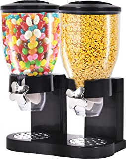 DPThouse Double Chamber Dry Food Airtight Cereal Dispenser Dual Control, Overall size: 13.4