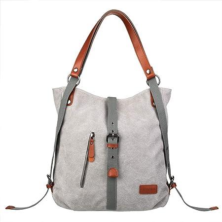 JOSEKO Canvas Tasche Handtasche, Damen Schultertasche Rucksack GroßVintage Umhängentasche Shopper für Alltag Büro Schule Ausflug Einkauf grau