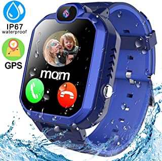 Kids Smart Watches Phone GPS Tracker with IP67 Waterproof 1.45'' Touchscreen SOS Two Way Call Micro Chat Camera Alarm Clock Math Game Gizmo Learning Toys for Girls Boys Christmas Birthday Gifts (Blue)