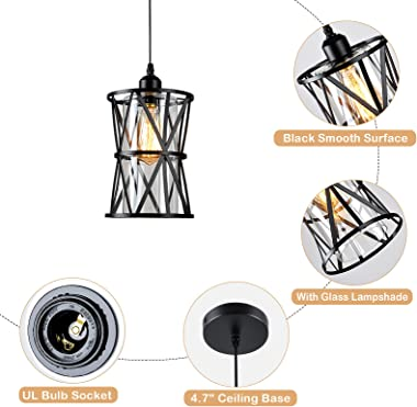 HMVPL Adjustable Pendant Lighting Fixtures, Set of 2 Modern Iron Industrial Mini Swag Hanging Lamps with Glass Shade for Kitc