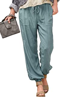 Frieed Womens Solid Drawstring Casual Stretch Elastic Waist Jogging Pants Trousers