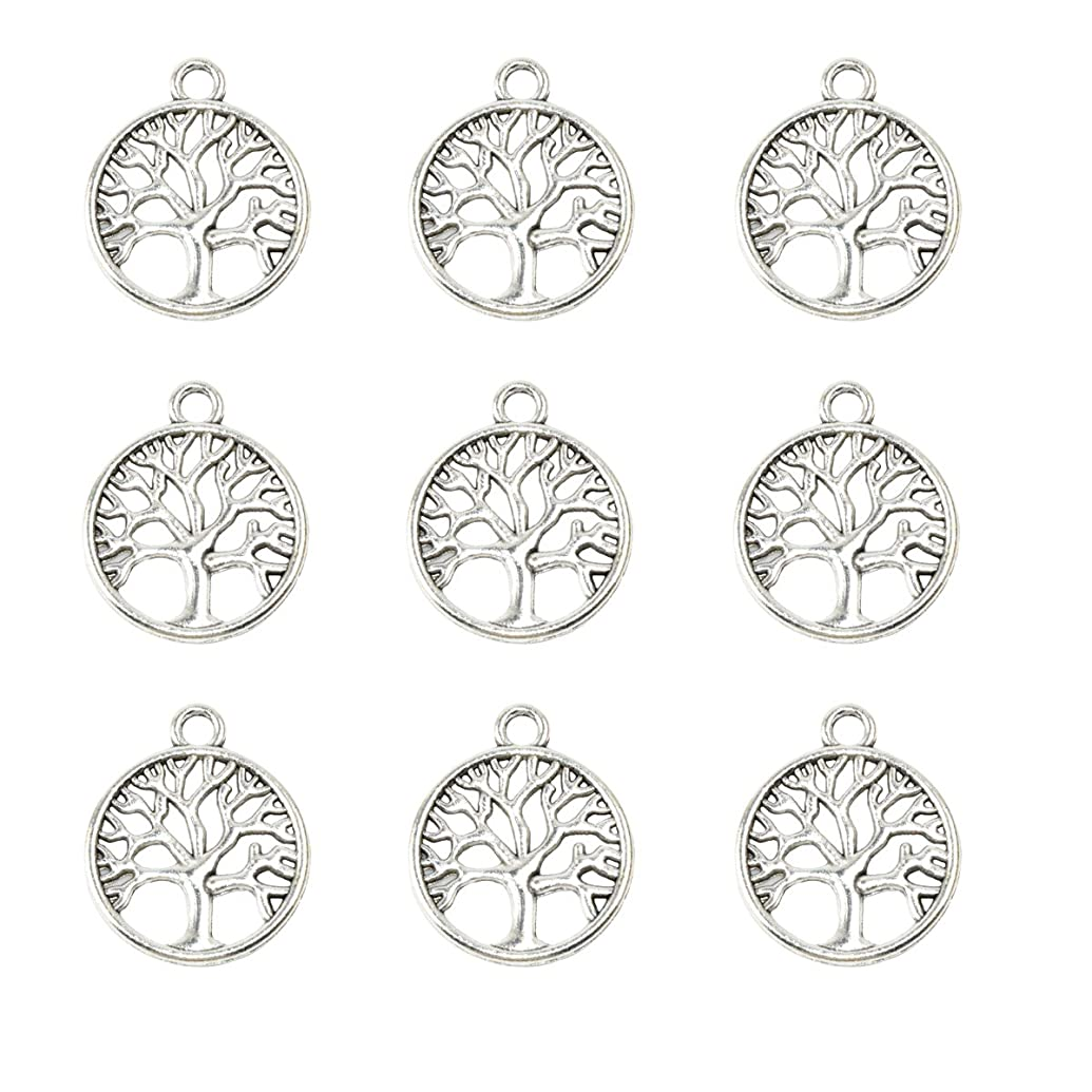 YYaaloa Pack of 50 Tree of Life Charms Pendants 24mm x20mm DIY Antique Charms Pendant for Crafting Bracelet Necklace Jewelry Findings Jewelry Making Accessory (50pcs Tree Silver)