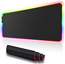 RGB Gaming Mouse Pad Oversized, Led Non-Slip Rubber Mouse Pad and USB Multi-port Extender, Keyboard and Mouse Pad 31×11.8 / 9.8×11.8 Inches, Suitable for Gmers